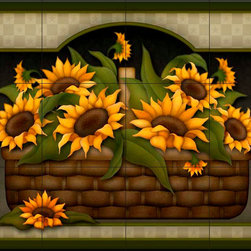 The Tile Mural Store (USA) - Tile Mural - Sunflower Basket  - Kitchen Backsplash Ideas - This beautiful artwork by Angela Anderson has been digitally reproduced for tiles and depicts a basket of sunflowers.  Our kitchen tile murals are perfect to use as part of your kitchen backsplash tile project. Add interest to your kitchen backsplash wall with a decorative tile mural. If you are remodeling your kitchen or building a new home, install a tile mural above your stove top or install a tile mural above your sink. Adding a decorative tile mural to your backsplash is a wonderful idea and will liven up the space behind your cooktop or sink.