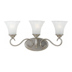 Quoizel - Quoizel 3-Light Duchess Bath Fixture in Antique Nickel - DH8603AN - Indulge in classic European elegance for your home with this refined design fit for royalty. The hand-forged iron is twisted into graceful curves, while the trumpeted shades celebrate the beauty of light with their warm gradation of color.