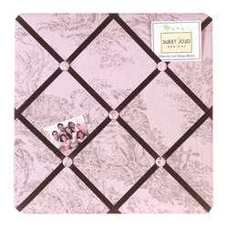 Sweet Jojo Designs - Pink & Brown Toile Fabric Memo Board - The Pink & Brown Toile Fabric Memo Board with button detail is a great way to display photos, notes, and postcards on your child's wall. Just slip your mementos behind the grosgrain ribbon to create an engaging piece of original wall art. This adorable memo board by Sweet Jojo Designs is the perfect accessory for the matching children's bedding set.The Pink & Brown Toile Fabric Memo Board is 14in. x 14in. and comes with metal hangers on the back for easy hanging on the wall.