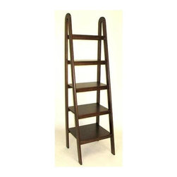 Wayborn - Ladder Shelf in Brown - 5 Shelves. Made from Basswood. Smooth finish. 19 in. W x 19 in. D x 67.5 in. H (40 lbs.)