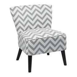 Ave Six - Contemporary Chair in Zig Zag Grey - Attractive and comfortable. Eye catching pattern. Covered in high performance, easy care fabric. Attractive solid wood legs. Intended for residential use only. Weight capacity: 200 lbs.. Assembly required. 27.25 in. W x 26.5 in. D x 31.75 in. H. This comfortable, attractive accent chair is sure to brighten any room in your house!