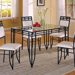 Matrix 5-Piece Dinette - The sharp corners and soft curves of the Matrix five-piece dining set offer a design that makes a stylish statement in any room. This sleek and modern set boasts an inset glass table top, black steel frame and cushioned seats. You'll love the detailed iron cross-work in the chair backs and framing the tabletop.