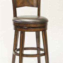 Hillsdale Furniture - Swivel Stool (30 in. Bar Height) - Choose Size: 30 in. Bar HeightSturdy tapered legsBrown vinyl seat.Back is inverted toward the center.Rustic oak finish. 20 in. W x 23 in. D x 40 in. H (37 lbs.)Hillsdale Furniture's Jenkins Stool has a one of a kind design! Sturdy, tapered legs support an ample, round, brown vinyl seat. The stool back is inverted toward the center, enhancing the pattern of the veneer and shading of the rustic oak finish. The burnished edges add even more character to this unique swivel stool. Constructed of hardwood with veneer, some assembly required.