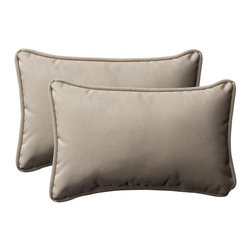 """Pillow Perfect - Decorative Rectangle Toss Pillow (Set of 2) - Features: -Material: 100% Polyester. -100% Virgin recycled polyester fill. -Self cord edge. -Fade resistant, mildew resistant, UV protection, water resistant, weather resistant. -Made in USA. -Overall Dimensions: 5"""" H x 11.5-16.5"""" W x 18.5-24.5"""" D."""