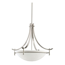 KICHLER - KICHLER 3278AP Olympia Contemporary Inverted Pendant Light - The Olympia Collection brings a modern twist on the classic aesthetic to create a new form the likes of which has not been seen before. The curvilinear, flowing arms create a clean, contemporary profile for your home. The Antique Pewter finish combined with Satin-etched white glass presents a natural color palate capable of matching any décor. For a simple approach, the Olympia Collection offers its unique look as an inspirational pendant. It uses a 3-light design that requires 150-watt (max.) bulbs to light the satin-etched white glass cover, creating a glowing bottom of light with chic sophistication.