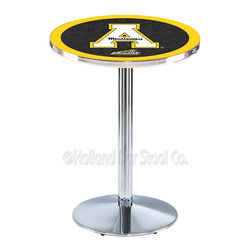 Holland Bar Stool - Holland Bar Stool L214 - Chrome Appalachian State Pub Table - L214 - Chrome Appalachian State Pub Table belongs to College Collection by Holland Bar Stool Made for the ultimate sports fan, impress your buddies with this knockout from Holland Bar Stool. This L214 Appalachian State table with round base provides a commercial quality piece to for your Man Cave. You can't find a higher quality logo table on the market. The plating grade steel used to build the frame ensures it will withstand the abuse of the rowdiest of friends for years to come. The structure is triple chrome plated to ensure a rich, sleek, long lasting finish. If you're finishing your bar or game room, do it right with a table from Holland Bar Stool. Pub Table (1)
