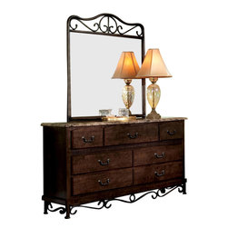 Standard Furniture - Standard Furniture Santa Cruz Dresser with Mirror in Cherry - The intricate shapes and ornamental detail present an old world appeal with Santa Cruz. Simulated marble tops are durable and easy to clean while providing just the right amount of contrast with the antique brown colored finish. Wood products with simulated wood grain laminates and metal. Group may contain some plastic parts. French dovetail. Roller side drawer guides. Cast metal bar pulls and knobs in medium Spanish semi flat color finish. Lexington cherry rutice color finish with grey color finish tops. Surfaces clean easily with a soft cloth.