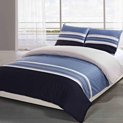 "Daniadown - Stanford Duvet Cover and Sham Set - A crisp nautical-like sewn and embroidered stripe in navy, denim, white and pale tan. Features: -Available in Twin, Double, Queen or King size. -Set includes duvet and shams. -Material: Cotton. -200 Threadcount. -Sewn and embroidered stripe in navy, denim, white and pale tan. -Dimensions: 84""-90"" Height x 66""-104"" Width."
