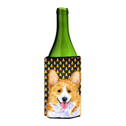 Caroline's Treasures - Corgi Candy Corn Halloween Portrait Wine Bottle Koozie Hugger SS4279LITERK - Corgi Candy Corn Halloween Portrait Wine Bottle Koozie Hugger SS4279LITERK Fits 750 ml. wine or other beverage bottles. Fits 24 oz. cans or pint bottles. Great collapsible koozie for large cans of beer, Energy Drinks or large Iced Tea beverages. Great to keep track of your beverage and add a bit of flair to a gathering. Wash the hugger in your washing machine. Design will not come off.