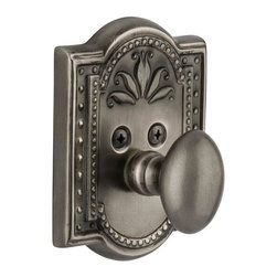 Nostalgic Warehouse - Nostalgic Meadows Single Cylinder Deadbolt Keyed Differently in Antique Pewter - The antique pewter Meadows Single Cylinder Deadbolt, with its intricate beaded detailing and botanical flourishes, creates an inspired design theme. Keyed differently. Made of solid (not plated) forged brass for durability and beauty.
