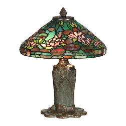 Dale Tiffany - Dale Tiffany TT10334 Floral Leaf Tiffany Table Lamp - Long believed to be the symbol of all that is true, good and beautiful, the water lily is one of nature's most breathtaking flowers. Beautifully recreated in hand rolled glass, our water lily shade brings this gorgeous flower to your home or office in bright, tropical shades. The intricate detail of the lily pad base in antique bronze finish makes the flowers seem as though they are floating on top of a lily pond.