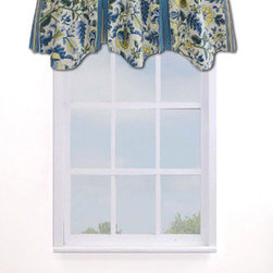 Waverly - Imperial Dress Porcelain Window Valance - - Imperial Dress Porcelain is a classic Waverly pattern, inspired by classical Jacobean patterns and styled with a modern twist.   - The porcelain color story is exemplified here in bright blue and white with soft green and warm yellow accents.   - The main pattern is printed on 100% cotton floral jacquard providing added texture on the comforter and shams.   - Coordinating Garden Path stripe in Bluebell is used for the comforter reverse and tailored bedskirt.   - The accessory pillows are opulently embellished with multi-color twisted braid and moss fringe.   - Lined drapery panel pair with tie backs, and coordinating window valance complete the bedroom ensemble.   - Use a 2 _? rod to hang drapery through easy to thread rod-pocket or back-tab top treatments.   - The collection offers a mix and match versatility with florals reversing to stripes allowing you to instantly change your bedroom look.   - Machine wash.   - Imported.   - Decorative objects not included.   - Window valance only, all other coordinating items sold separately. Waverly - 10168050018PO