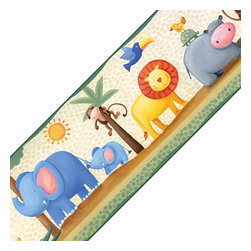 York Wallcoverings - Jungle Animals Adventure Self Stick Wall Border Roll - Features: