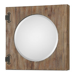 Uttermost - Uttermost 13825  Gualdo Aged Wood Mirror Cabinet - Aged wood with a light ivory wash and rustic, olive bronze details. hinged front opens to reveal a finished inside with two fixed shelves.