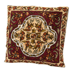 Sitara Collections - Floral Cushion Cover from Kashmir with Dense Chain Stitch Embroidery - Autumn's Rich Colors Can Be Yours all Year Round with this Wool Cushiom Cover Handmade in Kashmir. an abstract Leaf Pattern Created From Lush Reds, Muted Greens, and Frothy Cream Shades Come together in a Cover That adds a Dash of interest to Neutral Color Schemes. Color: Multi-Color, Brown and Beige Material: Wool Thread om Pure Cottom Cushiom inserts are Not included Closure: Slit Care instructioms: Dry Clean omly Dimensioms: 16 inches X 16 inches Set includes ome (1) Pillow Cushiom Cover.
