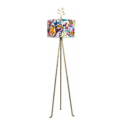 Otomi Floor Lamp by Jane Gray for Stray Dog Designs - Brighten up any corner with this Otomi lamp by Jane Gray for Stray Dog Designs. With a vibrant shade and gold base, it doesn't even need to be lit to make an impact.