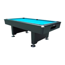 Playcraft - Black Knight 8 ft. Slate Pool Table (Drop Poc - Choose Model: Drop PocketsInstallation NOT INCLUDED. Felt Cloth and Playing Equipment Not Included. Assembly Required, Professional Installation Recommended. An affordable, sleek, design statement. 3-Piece, 0.75 in. thick Brazilian slate bed - each piece is supported on all 4 sides. Chrome corner caps. Large rounded corner posts. K66 Profile rubber cushions. 6 in. Wide pedestal legs with duck feet levelers. Finished in a matte Black laminate. 100 in. L x 56 in. W x 31 in. H (750 lbs.). Assembly Instructions