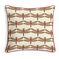Pink Dragonfly Print Corded Throw Pillow - Black and white photos, Louis XIV chairs, crown molding: classic is always classy. So it is with this long-time decorator's favorite: the Corded Throw Pillow.  We love it in this pink & brown dragonfly print in the hand sketched style of old world botanical artwork.