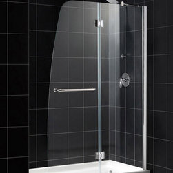 DreamLine - DreamLine SHDR-3148726-01 Aqua 48in Frameless Hinged Shower Door, Clear 1/4in Gl - The Aqua shower door combines a fresh look with a frameless design for an amazing value. The Aqua shower door stands out with a striking curved silhouette, while the full length wall profile provides an easy installation. Give your bathroom renovation a touch of brilliance with the gracefully curved lines of the Aqua shower door. 48 in. W x 72 in. H ,  1/4 (6 mm) clear tempered glass,  Chrome or Brushed Nickel hardware finish,  Frameless glass design,  Out-of-plumb installation adjustability: Up to 1/4 in. one side,  Hinged door and stationary side glass panel,  Solid brass hinges,  A convenient towel bar on the outside panel,  Stationary panel: 23 11/16 in.,  Reversible for right or left door opening installation,  Material: Tempered Glass, Aluminum