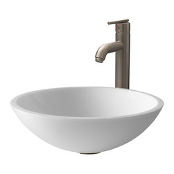 Vigo - VGT211 Flat Edged White Vessel Sink with Brushed Nickel Faucet - The VIGO Flat Edged White Phoenix Stone Glass Vessel Sink with Brushed Nickel Faucet combines modern design with elegant styling.