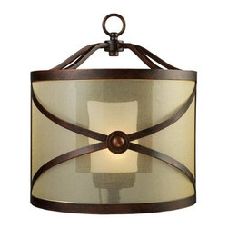 Elk Lighting - Cumberland Classic Bronze One-Light Sconce - -An outer drum made of criss-crossing iron finished in classic bronze encloses a light amber organza diffuser. An additional layering element is the matching finished mini- chandelier, within the fixture, that is properly accented with frosted blown glass shades. Elk Lighting - 14050/1