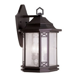 """Livex Lighting - Livex Lighting 2313 Tahoe Medium Outdoor Wall Sconce - Livex Lighting 2313 Tahoe Three Light Outdoor Wall SconceWith a modern twist on the classic lantern motif, the Tahoe three light outdoor wall sconce showcases a beautifully subtle Asian inspired design. With a tiered cone shaped roof, octagonal cross section, natural looking seeded glass, decorative """"x"""" shaped accents, a uniquely shaped backplate, and interesting five sided ring on top, the Tahoe is a perfect way to update and enhance the look of your home.Livex Lighting 2313 Features:"""