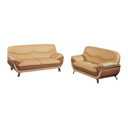 Global Furniture - 2 Pc Leather Match Living Room Set in Tan & Brown - Includes sofa and loveseat. Coffee table and end table not included. Made of leather match. Sofa: 83 in. W x 38 in. D x 37 in. H (122 lbs.). Loveseat: 65 in. W x 38 in. D x 37 in. H (108 lbs.)