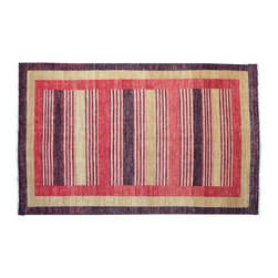 Modern Gabbeh Rug, Hand Knotted 100% Wool 5'X8' Striped Colorful Area Rug SH9373 - Our Modern & Contemporary Rug Collections are directly imported out of India & China.  The designs range from, solid, striped, geometric, modern, and abstract.  The color schemes range from very soft to very vibrant.