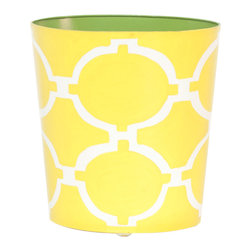 Worlds Away Oval Wastebasket Yellow And Cream - Worlds away oval wastebasket yellow and cream