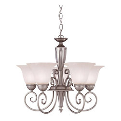 Savoy House - Savoy House Spirit 1 Tier Chandelier in Pewter - Shown in picture: Designed by Karyl Pierce Paxton; With it's abundant curls and smooth - clean classic lines the Spirit collection is definitely and eye pleaser. The Pewter finish and White Marble glass finish off the collection with a classic yet stylish look.
