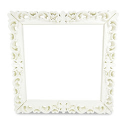 """Design of Love - Frame Of Love - Simple White - The Frame of Love is the ultimate statement piece no matter where you decide to make its home. With its substantial size and dimension, the Frame of Love is nothing short of a true conversation piece. Its majestic size measures 60"""" x 60"""" or 5ft x 5ft square on the outside, 47"""" x 47"""" on the inside and is 8 inches wide and 5 inches deep. Whether you decide to use it to frame art, a mirror, a chalkboard wall, a cork board or even all on its own, it""""s really up to you to define what its purpose will be in your home. Made in Italy from a rotational mold, the frame is a durable piece of furniture made entirely of recyclable linear polyethylene, is UV coated to resist fading and scratch resistant. The Frame of Love is a versatile piece that will survive equally well indoors and outdoors."""