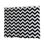 Uneekee - Uneekee Black Chevron Shower Curtain - Your shower will start singing to you and thanking you for such a glorious burst of design as you start your day!  Full printing on the front and white on the back.  Buttonhole openings for shower rings.