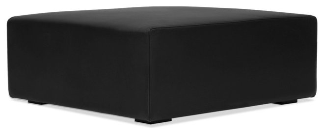 Contemporary Footstools And Ottomans Seed Black Leather Ottoman