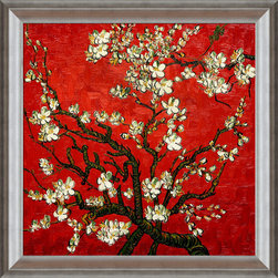 """overstockArt.com - Van Gogh - Branches Of An Almond Tree In Blossom (Artist Interpretation in Red) - 24"""" X 24"""" Oil Painting On Canvas Hand painted oil reproduction of a famous Van Gogh painting in an artists interpretation, Branches of an Almond Tree in Blossom. The original masterpiece was created in 1890. Today it has been carefully recreated detail by detail, color by color to near perfection. Van Gogh created this painting as a gift for his newborn nephew. The way he made is brush strokes were fitting to the baby because he combined a sense of fragility and energy. A joyous and hopeful image for the child's future. Vincent Van Gogh's restless spirit and depressive mental state fired his artistic work with great joy and, sadly, equally great despair. Known as a prolific Post-Impressionist, he produced many paintings that were heavily biographical. This work of art has the same emotions and beauty as the original. Why not grace your home with this reproduced masterpiece? It is sure to bring many admirers!"""