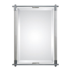 "Uttermost - Uttermost Adara Vanity Mirror 01127 - Ribbed glass columns accented with polished chrome plated details. Mirror features a generous 1 1/4"" bevel. May be hung either horizontal or vertical."