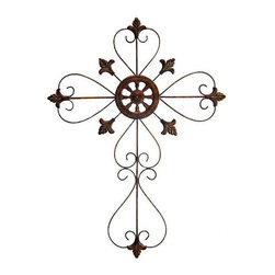 Cheung's - 32.5 in. Tall Metal Cross Scroll Design in Rustic Copper (Small) - Choose Size: Small. Add a contemporary style to your home decor with the 32.5 in. Tall Metal Cross! This stunning metal cross comes in glossy rustic copper finish. Add this lovely modern wall sculpture to your home for a gorgeous look. 20.08 in. L x 31.5 in. W x 24.8 in. H (1.5 lbs.). 20.08 in. L x 37.4 in. W x 28.74 in. H (1.75 lbs.)