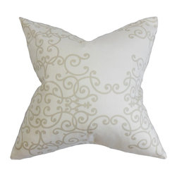 """The Pillow Collection - Fianna Floral Pillow White Birch 18"""" x 18"""" - With a subtle swirl pattern and white background, this accent pillow lends a sophisticated touch to your bed or sofa. Ideal for various settings and themes, this 18"""" pillow can be used anywhere inside your home. Coordinate this square pillow with other patterns from our collection of high-quality throw pillows. Constructed with 100% plush and soft cotton fabric. Hidden zipper closure for easy cover removal.  Knife edge finish on all four sides.  Reversible pillow with the same fabric on the back side.  Spot cleaning suggested."""