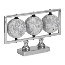 "Imax - Trio of White World Globes - *Dimensions: 7""h x 3""w x 11"""