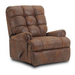 Chelsea Home Furniture - Chelsea Home Avery Handle Recliner in Pinto Tobacco Microfiber - Avery Handle Recliner in Pinto Tobacco Microfiber belongs to Verona II collection by Chelsea Home Furniture