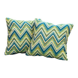 "Great Deal Furniture - Logan Geometric Green 17"" Outdoor Accent Pillow (Set of 2) - Accessorize your home with these Logan green geometric pillows. Upholstered in Sunbrella woven fabric, a durable weather resistant material, these colorful chic accent pillows are a great option to add flare and comfort to your home. Use them indoors or to accessorize your outdoor seating set."