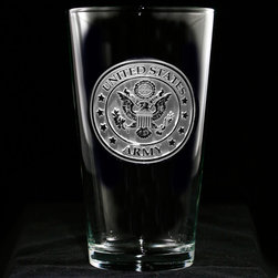 Crystal Imagery, Inc. - Army Pint Pub Glass, Engraved Water Glass Set - Engraved Army pub or pint beer glasses make a great army retirement or promotion gift for an officer. Deeply carved using our sand carving technique, each of our custom pint or pub glasses are meticulously custom made to order making them the perfect gift for those seeking unique gift ideas for beer lovers - men and women alike. At 16 oz, our pub glass will hold plenty of your favorite beverage. Dishwasher safe. A custom engraved pint or pub glass will be the favorite gift at any special gift giving occasion. Personalized or monogrammed pint or pub glasses are a unique and special bridal shower gift, engagement gift, wedding gift or engagement gift. Also great gift idea for girlfriend or wife gifts, boyfriend or husband gifts, retirement gift or birthday for the classy man or woman who has everything. Dishwasher safe. Made in the USA. SOLD AS A SET OF 4 DRINKING GLASSES.