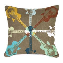 Manual - Pair of Electric Guitar Print Reversible Throw Pillows - This pair of 18 inch by 18 inch cotton / polyester blend throw pillows adds a wonderful accent to your home decor. The pillows feature the same print on both front and back, a windmill electric guitar pattern. They have 100% polyester stuffing. These pillows are crafted with pride in the Blue Ridge Mountains of North Carolina, and add a quality accent to your home. Original artwork by Stella Bradley. They make great gifts for music lovers.