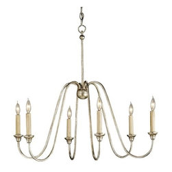 Currey & Company - Orion Chandelier by Currey & Company - The Currey & Company Orion Chandelier illuminates spaces modern or classic. The arms that support the six candles have a unique downward curve that makes them appear to spill from the central stem of the wrought iron frame. The fluid effect is enhanced by a shimmering Silver Leaf finish. Currey & Company creates history by acknowledging traditions from the past and by producing rare and enduring innovative products.