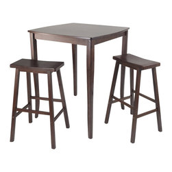 Winsome - Winsome Inglewood 3 Piece Square Pub Dining Set in Antique Walnut - Winsome - Pub Sets - 94380