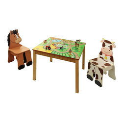 Teamson Design - Fantasy Fields Hand Painted Happy Farm Table and Set of 2 Chairs - Teamson Design - Kids' Table & Chair Sets - TD11324S2 - Even farmers need a break after working on the farm all day this table and chair set was designed with him in mind! Teamson's Happy Farm  Table and 2 Chair set is a relaxing place to take a breather and let your imagination run wild. Pull up to the table sitting on a handcarved and painted three dimensional chair made to look like a cow or horse. Your child will love the fact that the chair is made to look like they are sitting on the animals back. Table top is action packed with all kinds of farm fun. Different paths and mazes lead up to the big barn doors where all the animals are stored for safe keeping. Your child will have tons of fun on this imaginative farm!