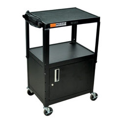 """Luxor - Adjustable Height Cabinet Table with Casters - Cabinet table with 4"""" casters. Features: -Height adjustable between 26""""- 42"""" -Roll formed shelves with powder paint finish -Tables are robotically arc welded -Cable pass through holes -1/4"""" retaining lip around each shelf -3-outlet, 15' UL and CSA listed electric assembly with cord plug snap -Reinforced locking doors with full length piano hinges -Black color -Weight: 62 Lbs -Dimensions: 26"""" - 42"""" H x 24"""" W x 18"""" D"""