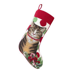 """Peking Handicraft - Grey Tabby Needle Point Stocking - With its charming vintage design and intricate needle point quality, our adorable pet stockings are ready to fill with toys and treats for your best friends! This well made stocking features a plush velveteen color coordinated back and is meant to last for years! Indeed Decor will donate 20% of profits to animal rescue charities. Dry Clean Only. 11"""" x 18""""."""