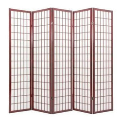None - Oriental Shoji 5-panel Cherry Room Divider Screen - This Oriental Shoji room divider features five wood-frame panels with durable rice paper screens. With a cherry finish on wood, this divider is perfect for adding a touch of class and privacy to any room.