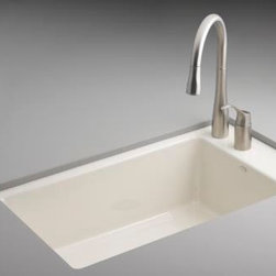 KOHLER - KOHLER K-6410-2-96 Indio Undercounter Single Basin Sink - KOHLER K-6410-2-96 Indio Undercounter Single Basin Sink with Two-Hole Faucet Drilling in Biscuit