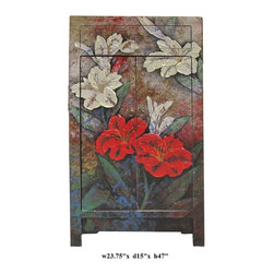 Oil Paint Canvas Art Narrow Wooden Cabinet - Oil painting on canvas and placed on the surface of the cabinet.